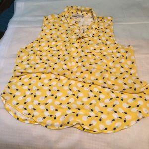 LOFT Sleeveless Lemon Button Blouse